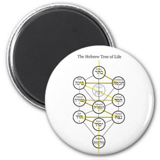 Hebrew Kabbalistic Tree of Life with Flaming Sword Fridge Magnet