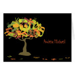 HEBREW LETTERS TREE Bar Mitzvah Thank You Card