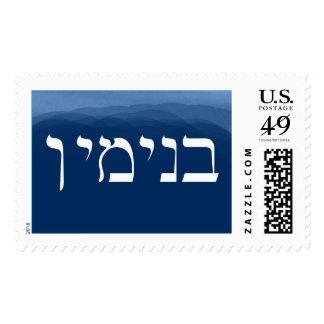 Hebrew Name Stamp Benjamin Navy Lumina