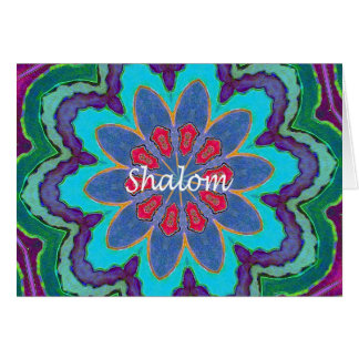 Hebrew Shalom Blue Green Red Purple  Note Card