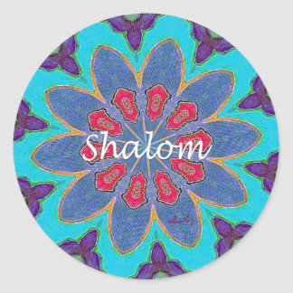Hebrew Shalom Blue Red Green Purple Round Sticker