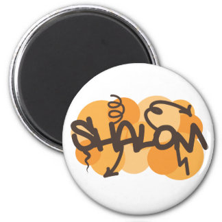 Hebrew shalom in graffiti style 2 inch round magnet