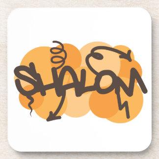 Hebrew shalom in graffiti style coaster