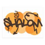 Hebrew shalom in graffiti style postcard