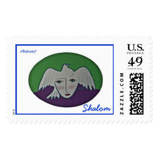 Hebrew Shalom Pigeon Face Large Stamp