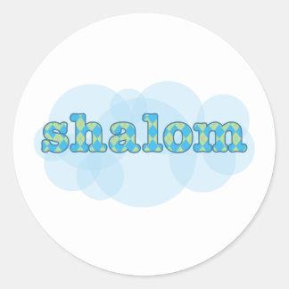hebrew shalom with argyle pattern classic round sticker