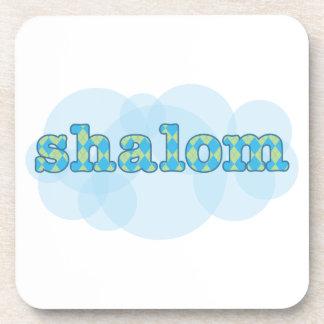 hebrew shalom with argyle pattern coaster