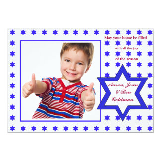 Hebrew Star Holiday Photo Card