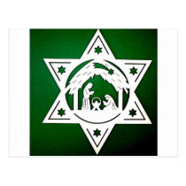HEBREW STAR WITH NATIVITY CHRISTMAS POSTCARD