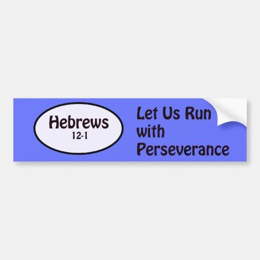 hebrews12-1 car bumper sticker