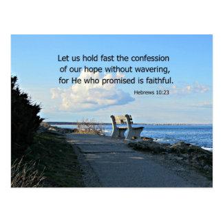 Hebrews 10:23 Let us hold fast the confession... Postcard