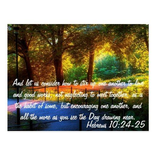 Hebrews 10:24-25 postcard | Zazzle