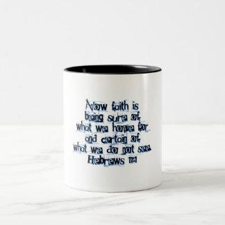 Hebrews 11:1 Two-Tone coffee mug