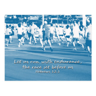 Hebrews 12:1 Let us run the race Postcard
