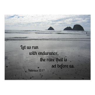 Hebrews 12:1 Let us run with endurance... Postcard