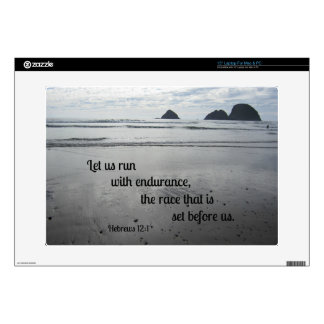 """Hebrews 12:1 Let us run with endurance... Decal For 15"""" Laptop"""