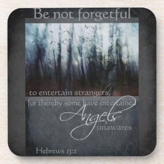 Hebrews 13:2 Angel Quote Drink Coaster