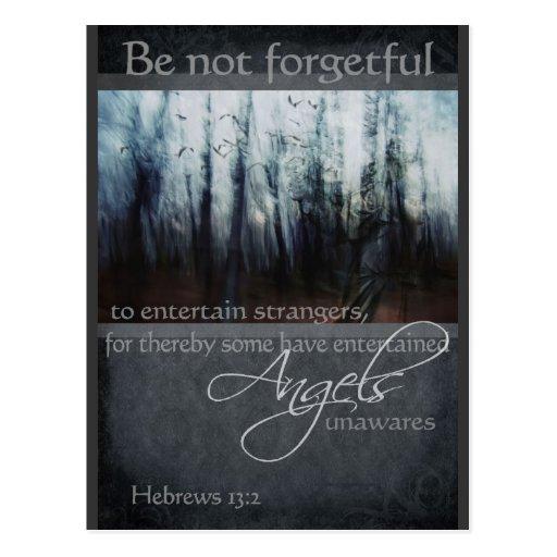 Hebrews 13:2 Angel Quote Post Card