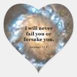 Hebrews 13:5 heart sticker