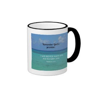 Hebrews 13:5 I will never leave you nor forsake... Ringer Coffee Mug