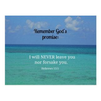 Hebrews 13:5 I will never leave you nor forsake... Postcard