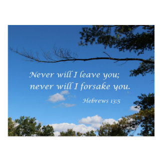 Hebrews 13:5 Never will I leave you Postcard