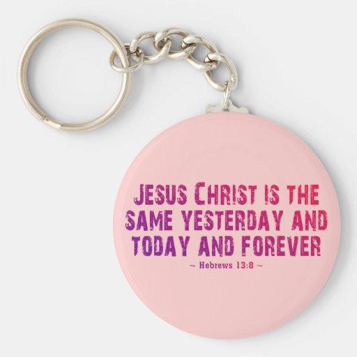 Hebrews 13:8 basic round button keychain