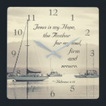 """Hebrews 6:19 Jesus Anchor for my soul, Sailboats Square Wall Clock<br><div class=""""desc"""">Beautiful wall clock depicts sailboats anchored on the water and features Bible Verse Hebrews 6:19,  Jesus is my Hope,  the Anchor for my soul,  firm and secure.</div>"""