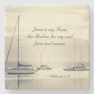 Hebrews 6:19 Jesus Anchor for my soul, Sailboats Stone Coaster