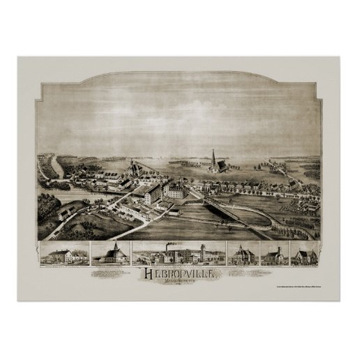Hebronville, MA Panoramic Map - 1891 Poster