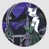 hecate, river, styxs, underworld, snake, crow, tattoo, gate, fairy, faery, fae, faerie, fairies, fantasy, gothic, dark, art, fine, myka, jelina, acrylic, Sticker with custom graphic design