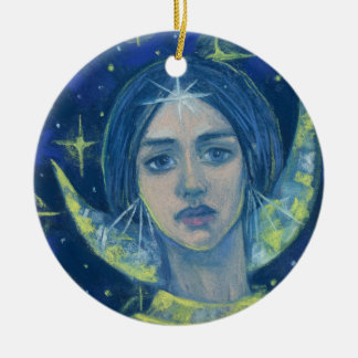 Hecate, Moon goddess, pastel painting, fantasy art Ceramic Ornament