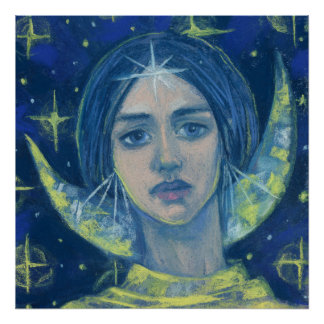 Hecate, Moon goddess, pastel painting, fantasy art Poster