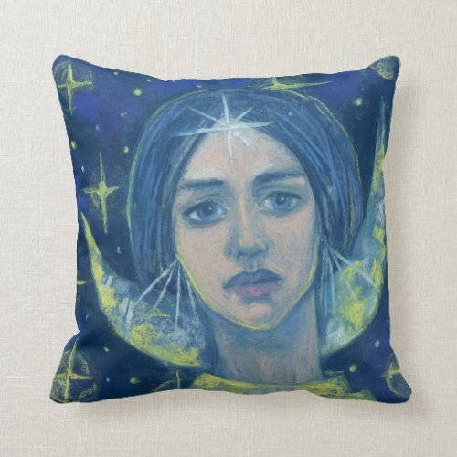 Hecate, Moon goddess, pastel painting, fantasy art Throw Pillow