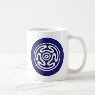 HECATE'S WHEEL Wicca Pagan Symbol Blue and White Coffee Mug