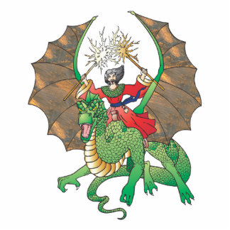 hechicero mágico del dragón fotoescultura vertical