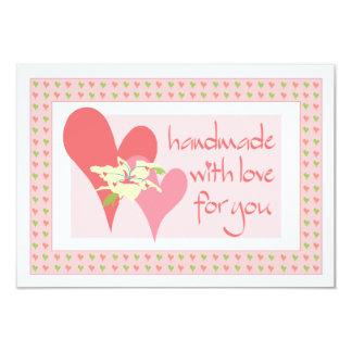 Hecho a mano con el amor para usted tarjeta de invitación 8,9 x 12,7 cm