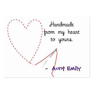Hecho a mano con la etiqueta colgante del amor tarjeta de visita