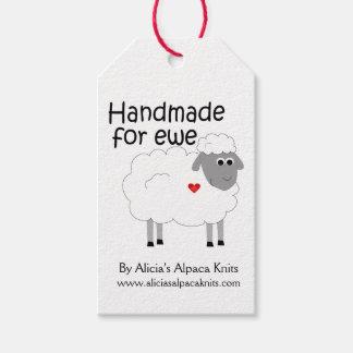 Hecho a mano para la etiqueta de la oveja etiquetas para regalos