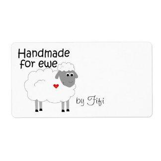 Hecho a mano para la etiqueta del regalo de la ove etiqueta de envío