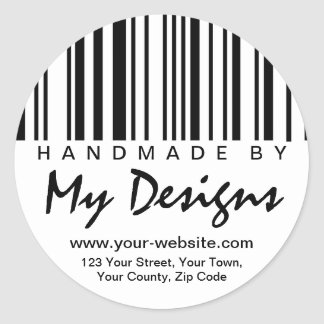 Hecho a mano por las etiquetas autoadhesivas del etiquetas redondas
