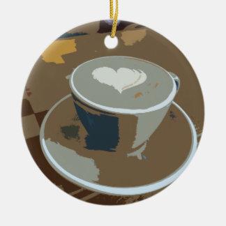 Hecho con amor adorno navideño redondo de cerámica