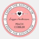 Hecho con amor de la cocina del rosa de la etiquet