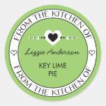 Hecho con amor de la cocina del verde de la etique