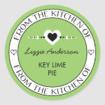 Hecho con amor de la cocina del verde de la pegatinas redondas