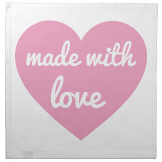 Hecho con diseño del texto del amor en corazón ros servilletas
