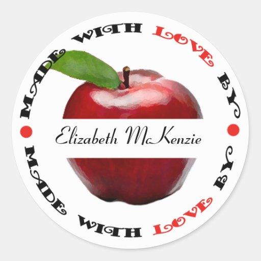 Hecho con el amor Apple Pegatina Redonda