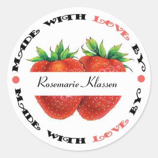 Hecho con la fresa del amor pegatina redonda