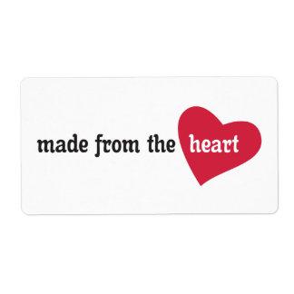 Hecho de la etiqueta de la comida del corazón etiqueta de envío