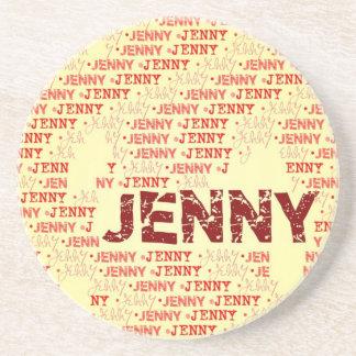 Hecho de las palabras JENNY Posavasos Diseño